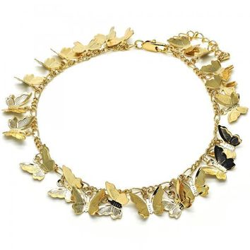 Gold Layered 03.105.0072.10 Charm Anklet , Butterfly Design, Polished Finish, Golden Tone