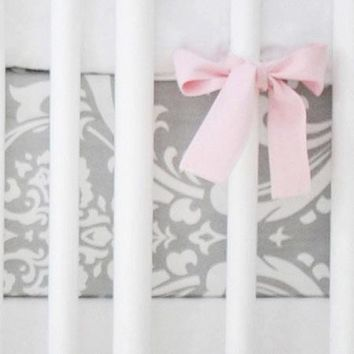 Crib Sheet | Gray & Hot Pink Damask Wisteria Crib Baby Bedding Set