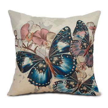 Cotton Linen Butterfly Pattern Design Vintage Cushion Covers Decorative Throw Pillow Cover Case for Sofa Chair Seat Home Textile