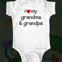 i love my grandma & grandpa - funny saying printed on Infant Baby Onesuit, Infant Tee, Toddler T-Shirts