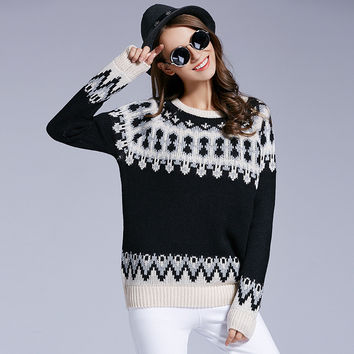 Women's Lovely Floral Print Crewneck Long Sleeves Pullover Sweater