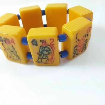 Bakelite Mah Jong Bracelet - Vintage Butterscotch Bakelite Mah Jong Tile Bracelet with Blue Spacer Beads- Expandable Band