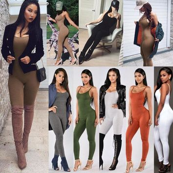 LMFUNT Jumpsuits Women Skinny Bodycon Rompers Strapless Bodysuits