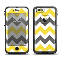 The Gray & Yellow Chevron Pattern Apple iPhone 6 LifeProof Fre Case Skin Set