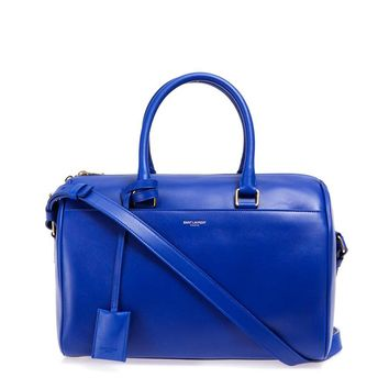 Saint Laurent Classic Duffle 6 Bag in Bright Blue Calfskin Leather Satchel 314704