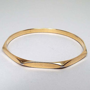 Monet Vintage Bangle Bracelet, Gold Tone Octagon, Geometric Jewelry, Retro 1980s 80s, Boho Jewelry