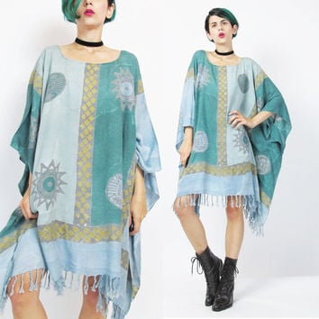 Draped Caftan Dress Hippie Boho Beach Dress Light Blue Sun Print Batik Dress Ethnic Tribal Print Kaftan Fringe Hem Slouchy Oversize (L/XL)