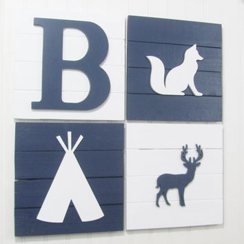 Rustic Nursery, Fox, Tribal Nursery, Nursery Decor, Tribal Decor, Woodland Decor, Woodland Nursery, Pallet Board, Tee Pee, Woodland Animals