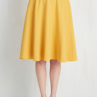 50s, Scholastic Long Full Just This Sway Skirt in Goldenrod by ModCloth from ModCloth