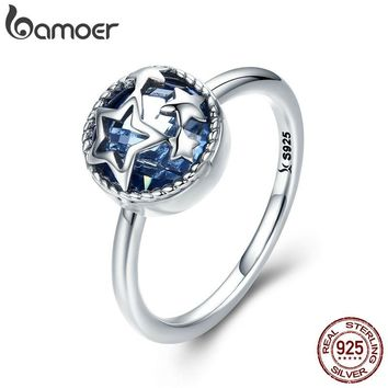 BAMOER Authentic 925 Sterling Silver Dazzling Star Blue Crystal CZ Finger Rings for Women Wedding Engagement Jewelry Gift SCR290
