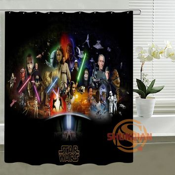 Cool Star Lightsaber War Customize Design Bath Waterproof Shower Curtain Bathroom Products Curtains