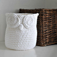 White Owl Basket Crocheted Bin Yarn Holder Gender Neutral Woodland Nursery Decor Modern Home Organizer