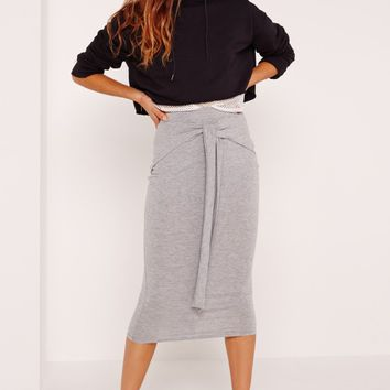 Missguided - Tie Front Midi Skirt Grey