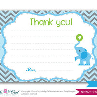 Boy Elephant Thank You Card, Blue Chevron Card for a boy Elephant baby shower. Elephant on ball green, blue,grey, star-oz01