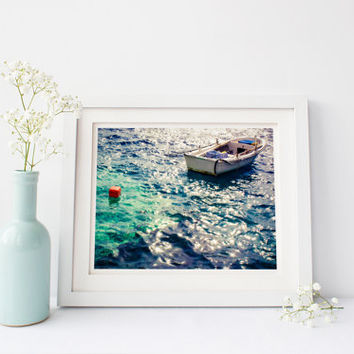 Greece digital download, Oia Santorini printable art, fishing boat, sparkly blue sea water, travel photography, fine art home decor wall art