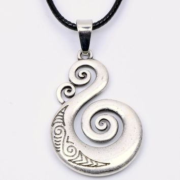 Traditional Maori Koru Necklace Pendant Love Symbol Amulet Double Sided Power Protection Talisman Spiritual Pagan Wiccan Jewelry