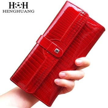 HH Luxury Women Wallets Patent Leather High Quality Designer Brand Wallet Lady Fashion Clutch Casual Women Purses Party