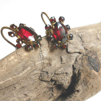 Vintage designer signed Czech garnet glass earrings, Czechoslovakia