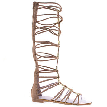 Magical13S Camel By Bamboo Gladiator Flat Open Toe Strappy Sandal, Roman / Greek Goddess Shoes.
