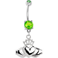 Peridot Green Gem IRISH CLADDAGH Belly Ring | Body Candy Body Jewelry