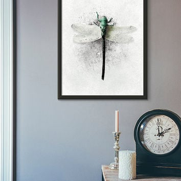 Dragonfly, dragonfly art, dragonfly print, dragonfly wall art, home decor, print download, modern art print, wall art printable, wall art