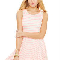 Mini Stripe Lace Back Skater Dress - Pink Multi