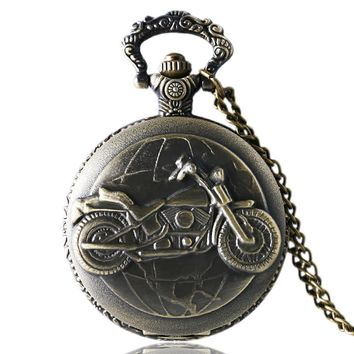 Men's Pocket Watch, Steampunk Vintage Motorcycle Full Hunter Pocket Watch Chain Gifts, Gift for Men
