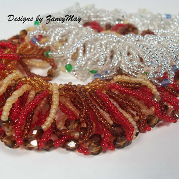 Fringe Anklet or Bracelet Pattern, Beading Tutorial in PDF