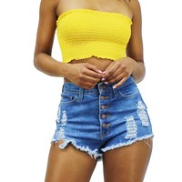 Summer Vacation Essential Lettuce Edge Trim Smocked Bandeau Crop Top