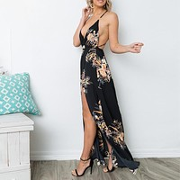 V Neck Sexy Maxi Split Women Print Dresses Beach Party Boho Long Dress Backless Sleeveless Vestidos