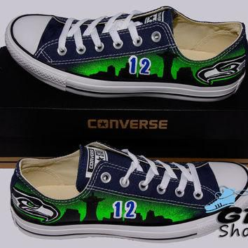 Hand Painted Converse Lo Sneakers. Seattle Seahawks. Hawks. Football. Superbowl.12th m