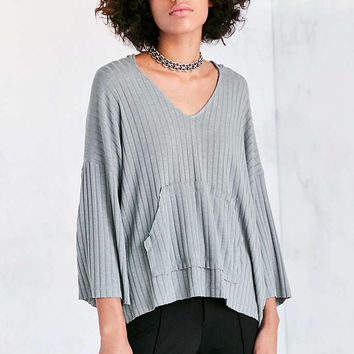 BDG Anna Ribbed Knit Hoodie Sweater - Urban Outfitters
