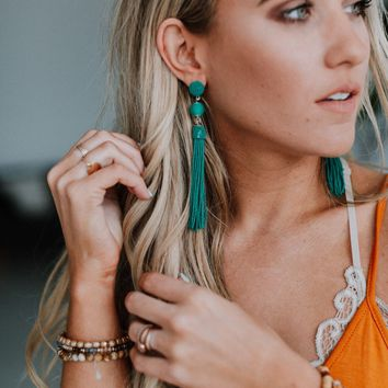 Emmette Tassel Dangle Drop Earrings - Teal
