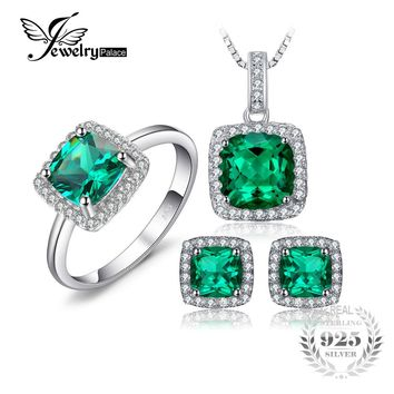JewelryPalace Square Cut Created Emerald Jewelry Set Earring Ring Pendant Necklace 925 Sterling Sliver Fashion Jewelry Brand