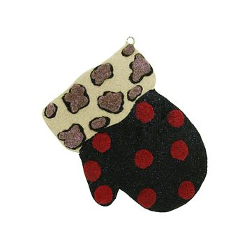 """4"""" Eclectic Leopard Print and Polka Dot Mitten Christmas Ornament"""