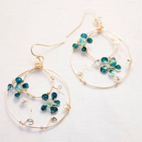Teal Flower Hoops, Gold Wire Wrapped Earrings, Nail Polish Jewelry