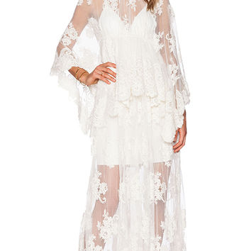 Alexis Lacey Lace Maxi Dress in Ivory