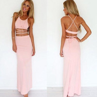 Fashion Backless Crisscross Two-Piece Maxi Dress