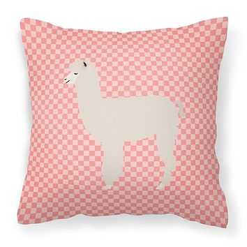 Alpaca Pink Check Fabric Decorative Pillow BB7919PW1414