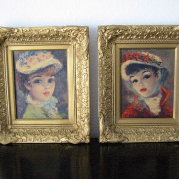 Huldah Portraits Annette And Suzanne In Gilt Frames
