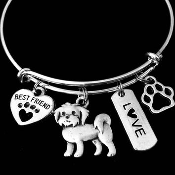 Maltese Dog Expandable Charm Bracelet Silver Adjustable Wire Bangle Gift Best Friend Paw Print Pet Animal Lover Jewelry Gift