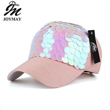 JOYMAY Spring New Fashion Women Baseball cap with Sequins Shining Bling Adjustable Leisure Casual Snapback HAT B438