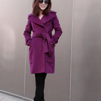 Purple Cashmere Wrap Coat with Belt, Purple Wrap Jacket, Purple Winter Coat with Belt, Custom Tailored Jacket