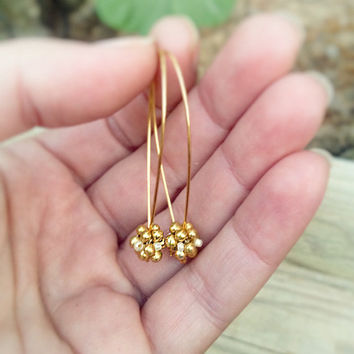 Golden drop earrings. handmade beaded bead. Minimalist rustic Nature inspired jewelry