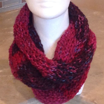 Hot Pink and Burgundy Infinity Eternity Circle Knitted Scarf