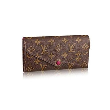 PEAPDC0 Authentic Louis Vuitton Monogram Canvas Fuchsia Josephine Wallet Article: M60708