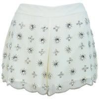 Cream Embellished Short
