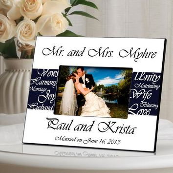 Mr. & Mrs. Wedding Frame - Navy