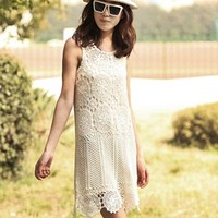 Elegant allmatch gentlewomen handmade crochet cutout dress sweater