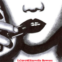 woman face lips lipstick makeup original art ink drawing black by Elizavella